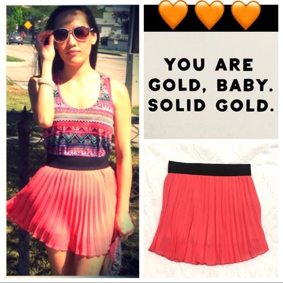 LUNA CHIC Dresses & Skirts - LUNA CHIC orange 🔶pleated skirt